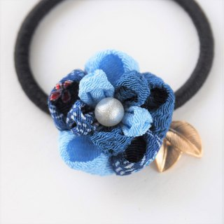 Charming Shades of Blue Flower Gold leaves Hair tie custom
