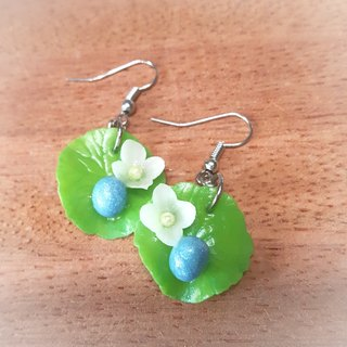 Lotus flowers with blue pearl on the ear hook earrings