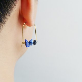U-type lapis stone earrings