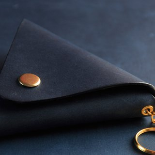 Handmade / classic vegetable tanned coin purse / Navy