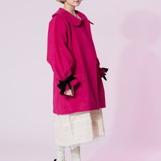 : EMPHASIZE cuff velvet bow tie wool coat - Pink