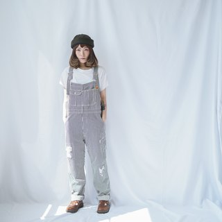 Ancient II Japanese II black and white straight striped denim vintage workers pants II