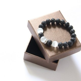 Fashion Energy Jewelery Collection - Black Volcanic Stone Cat's Eye Stone Bracelet / Black Pelelith & Cat's eye bracelet
