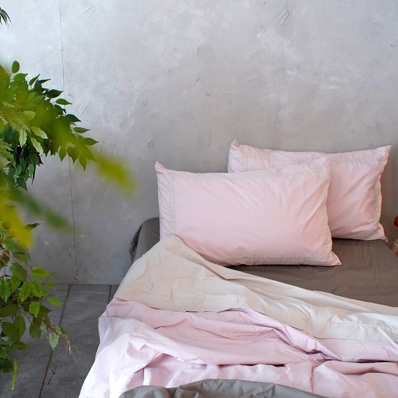 Writing a Love Poem bedspreads & pillow case_fresh quartz pink & light beige