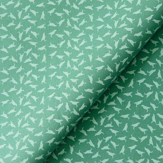 Hand-Printed Cotton Canvas - 250g/y/Crested Myna No.4/Lichen Green