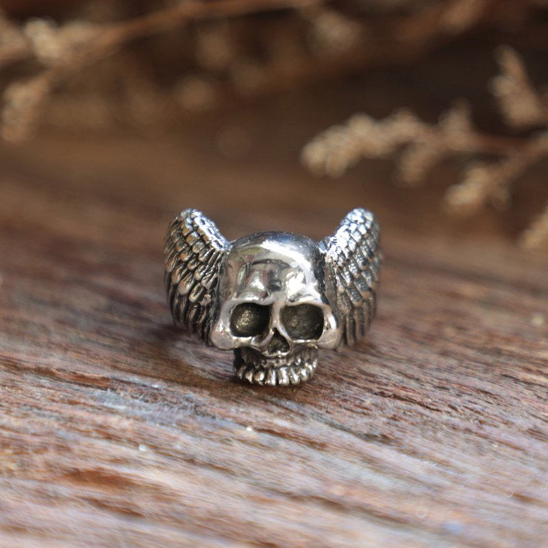 Bird wings skull Ring men sterling silver 925 gothic biker halloween zombie bone