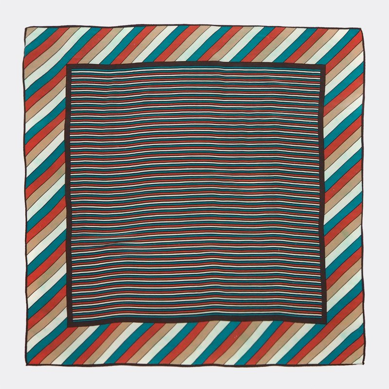 Colored horizontal diagonal vintage antique silk scarf BQ0014