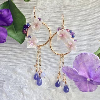Handmade earrings purple tanzanite stone wreath