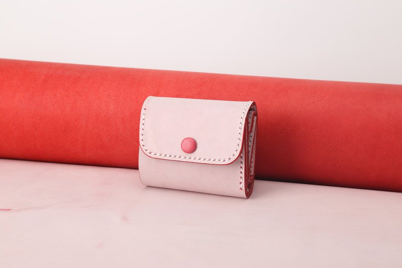 [tangent pie] ladies handmade fog wax storage short clip multi-function wallet rose red