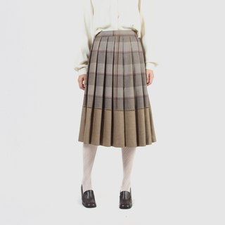 [Egg plant vintage] round dance girl plaid wool pleated ancient dress