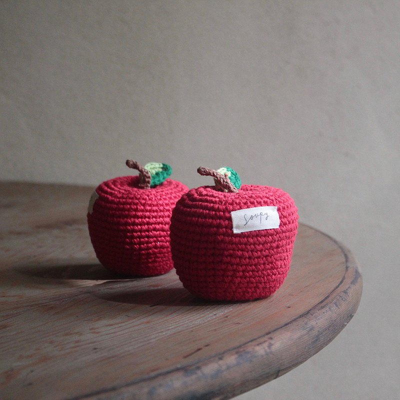 Pure cotton hand knitted apple