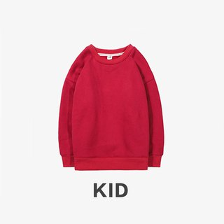 KIDS Long Sleeve Round Collar University T :: Boys and Girls Wearable:: Red