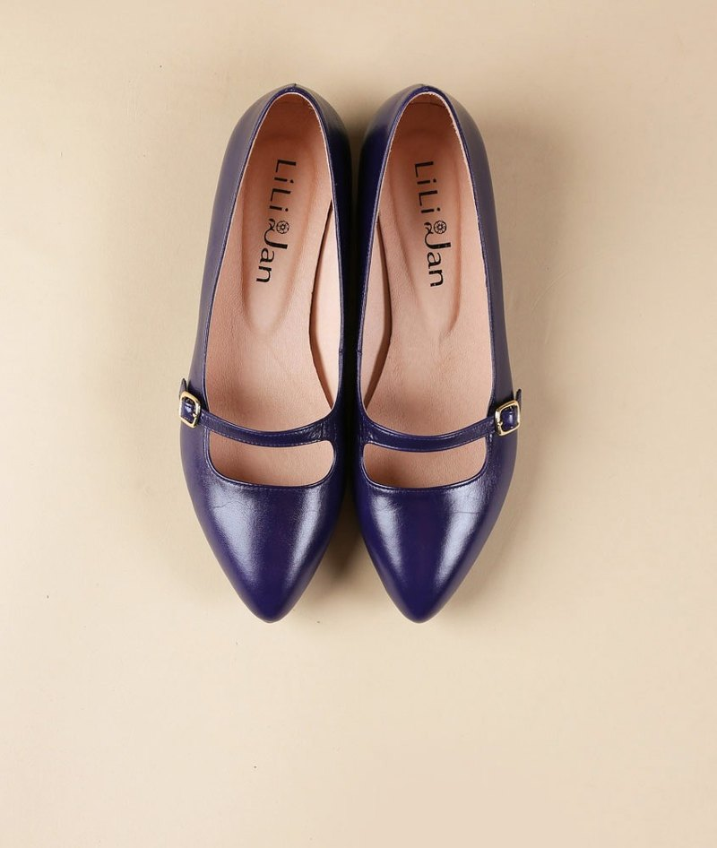 [Magic mirror sleepwalking] Mary Jane retro elegant low heel shoes _ oily dark blue