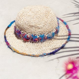 Valentine's Day gift limited a handmade sari line weave cotton linen / weaving hat / fisherman hat / straw hat - gradient wood wind hand twist yarn lace line flower weaving