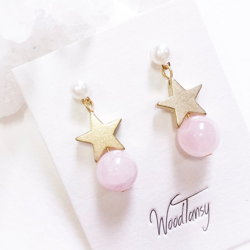 Little little star RoseQuartz Non allergic earrings