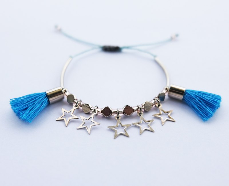 Stars and blue tassel string bracelet