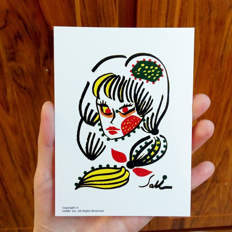 Ghost Girl Postcard Birthday Card Design Coloring Illustration Card This Card Universal Card Art Art Modern Lovers Love Special Interesting Monster Weird Cute Taiwan Yellow Fun Funny Eye-catching Art Sequins Flash Cool Unlike Brand-name Foreigners Gift Gif
