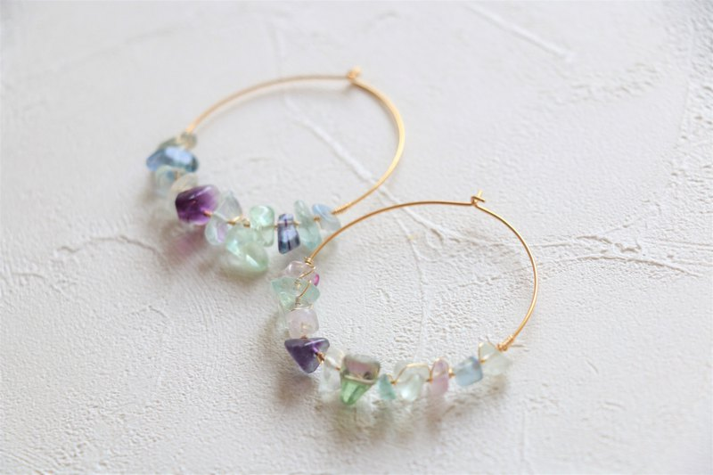 Rainbow fluorite wire wrapped dangle earrings - 18k gold plated earrings