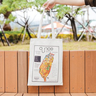 Canvas Tote Bag - Taiwan Food & Fruit Map