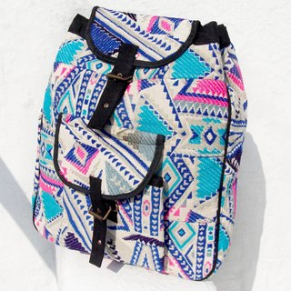 Backpack / shoulder bag / backpack after ethnic / Boho ethnic totem package after hand knitted fabric stitching design - Blue Mosque hit color geometric post-national Backpack