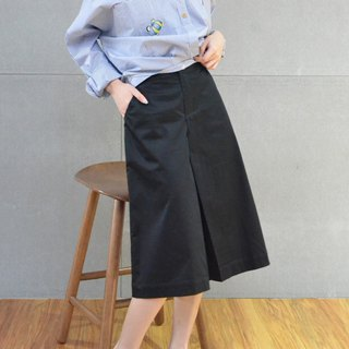 Bow wide-length cropped trousers (black)