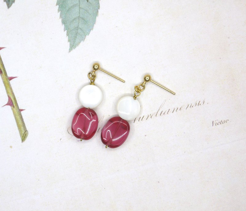 [Riitta] Strawberry Cotton Candy Earrings (Ear Clip)