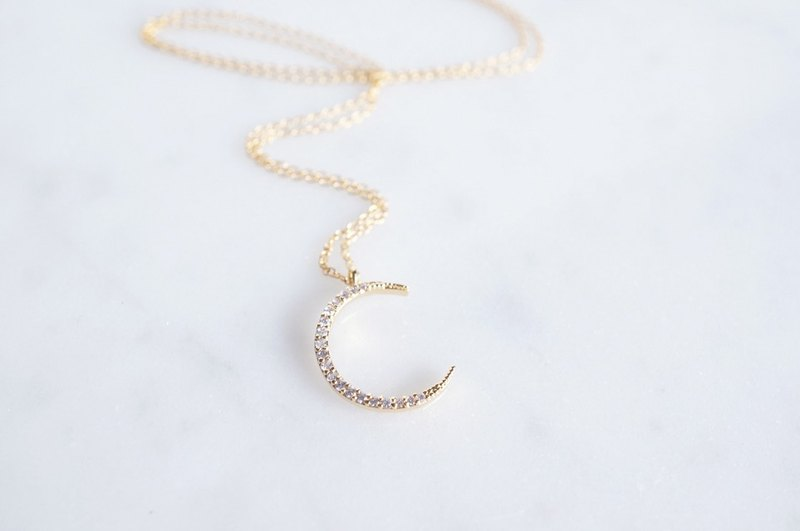 【14KGF】Necklace,CZ Crescent Moon