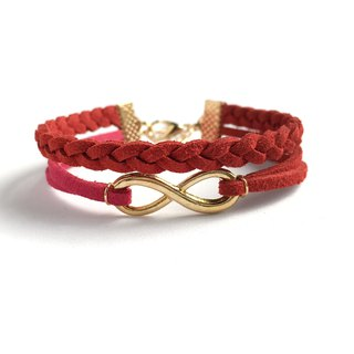 Handmade Double Braided Infinity Bracelets Rose Gold Series-brick red limited