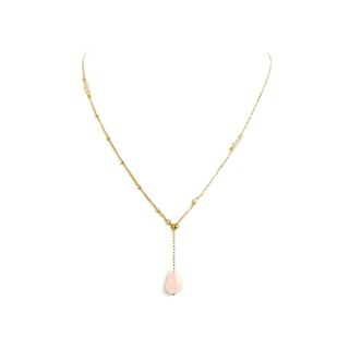 Ficelle | Handmade Brass Natural Stone Bracelet | [Pink Crystal] Walk with You - Necklace