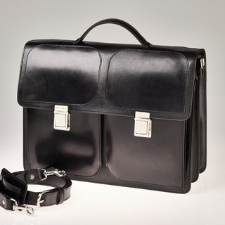 Vegetable-tanned leather briefcase / nickel finish brass accessories