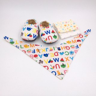 English alphabet - Miyue baby gift box (toddler shoes / baby shoes / baby shoes + 2 handkerchief + scarf)