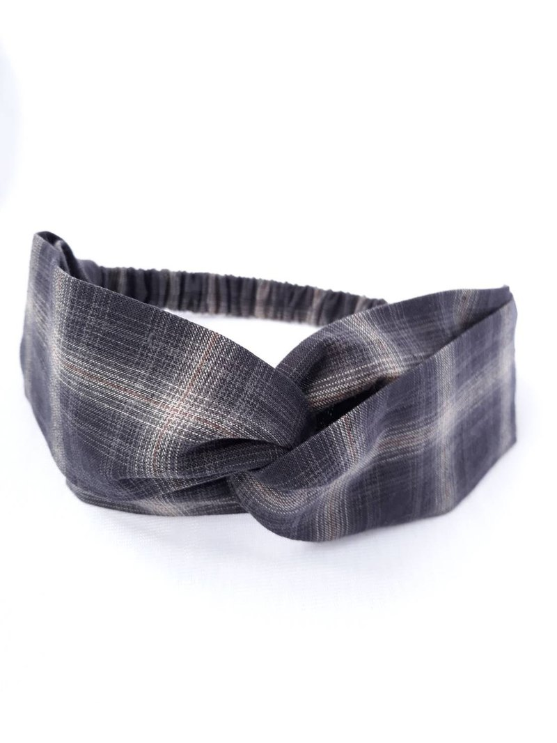 Black and white Plaid first dyed handmade hair band