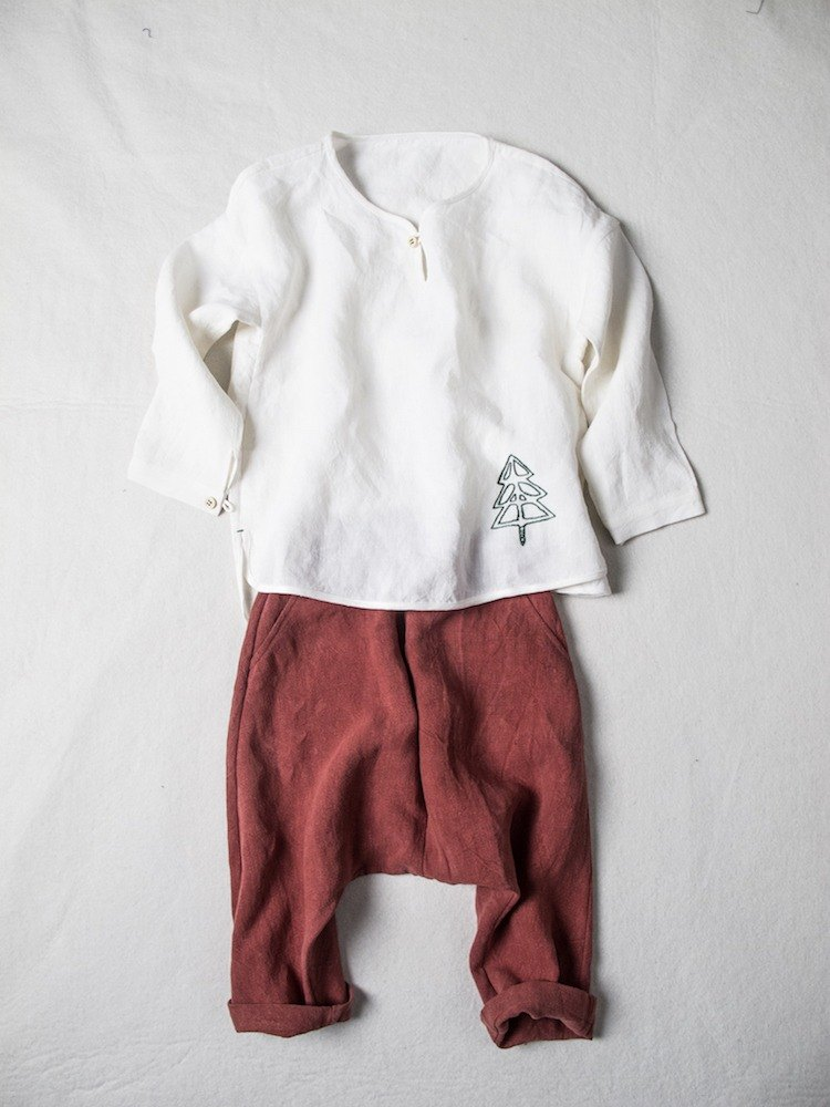 Children's wear ancient red pure linen trousers