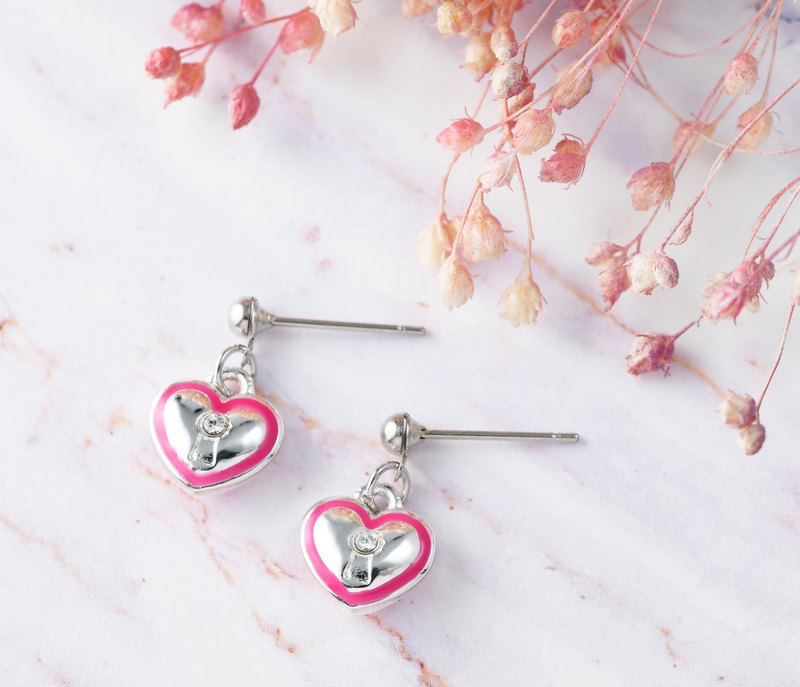 Heart lock series love heart shape needle earrings pink powder (ERIJA0836E-2)