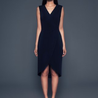 Chiara Sleeveless Wrap Dress in Navy