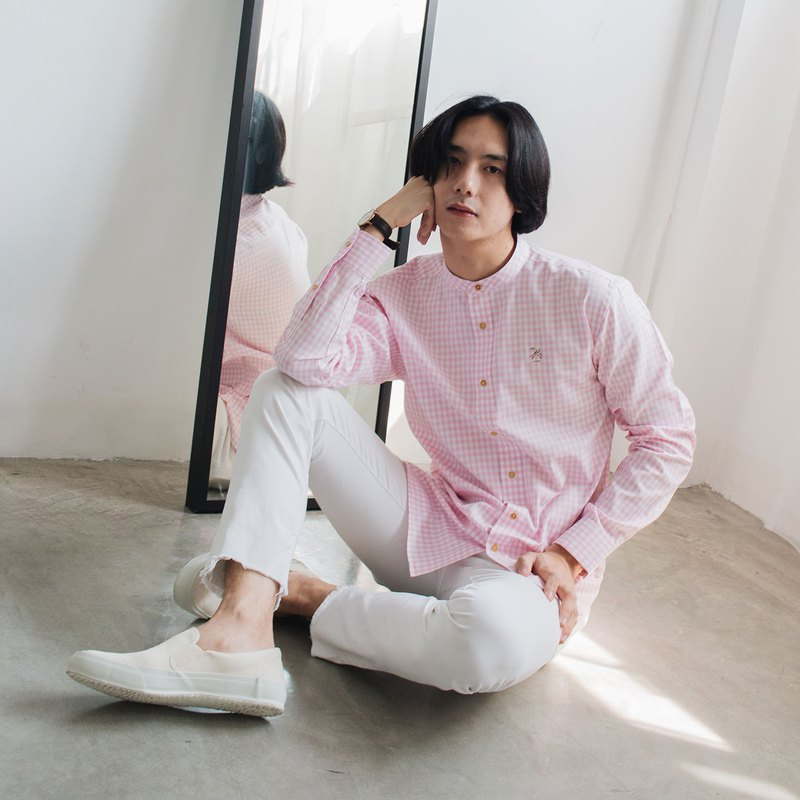 SWALLOW // pink white check // men straight fit