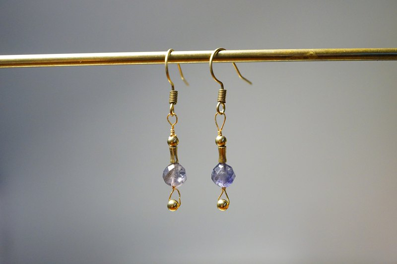 Good luck [Cyanite brass earrings] Ear hooks l ear clips