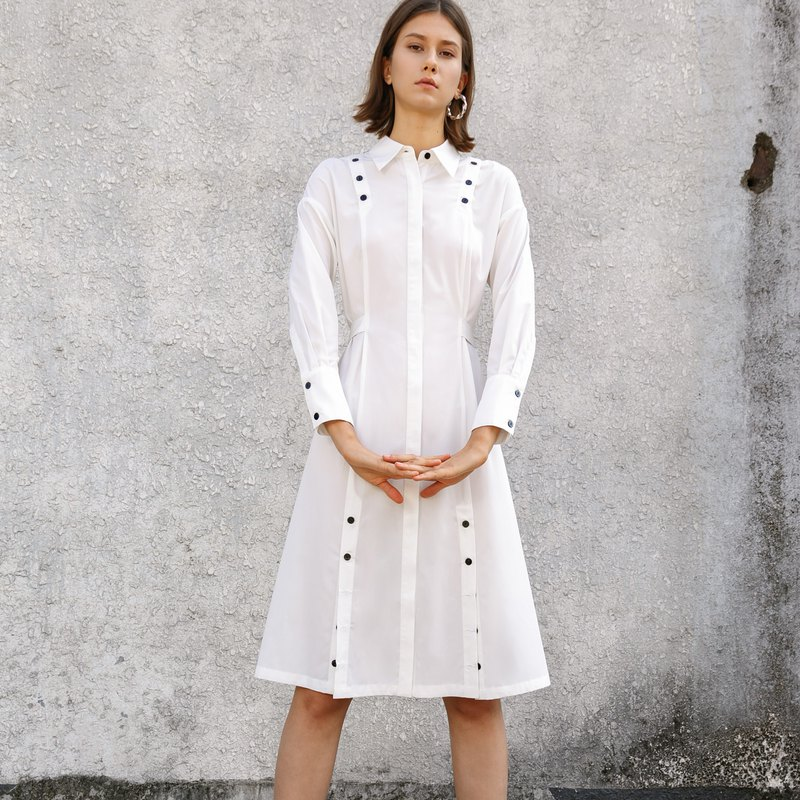 Multi contrast button long sleeve dress