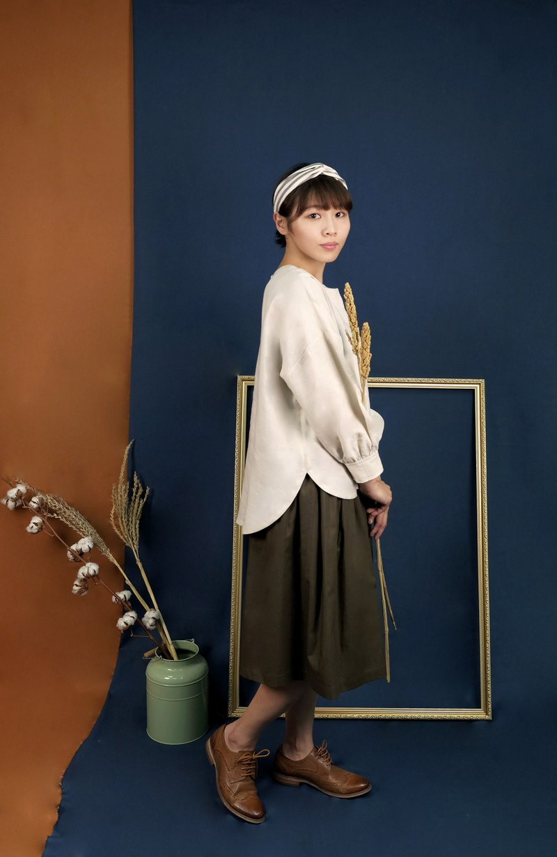 Shoulder Puff Sleeve Tops beige linen