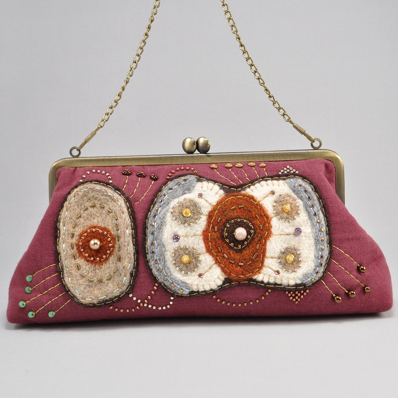 non-conforming product,  Embroidered bag with beads and wool, purple  bag,