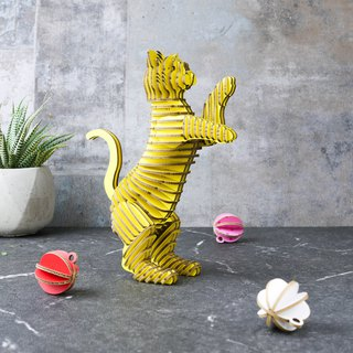 HAPPY CAT/3D Craft Gift/DIY/Yellow