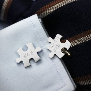 Puzzle cufflinks sterling silver - Wedding cufflinks personalized