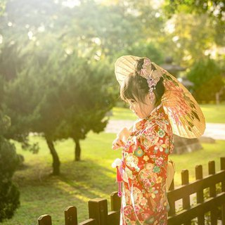 Hand-made kimono adult version of red and white peony