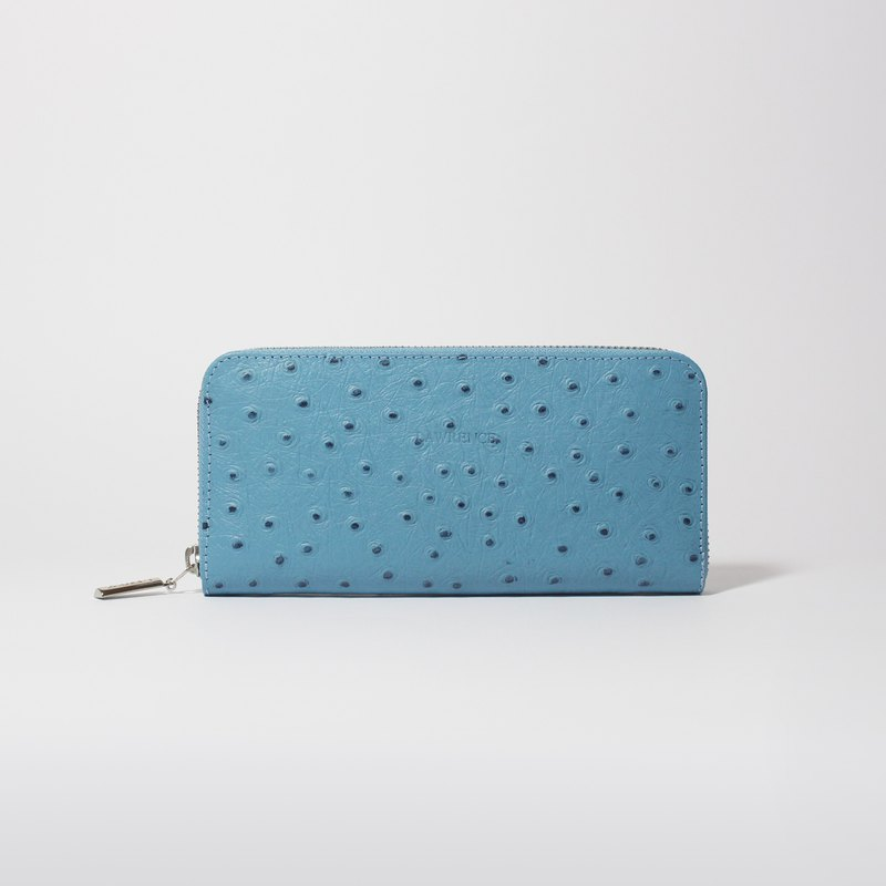 Light Blue Ostrich Embossed Leather Zip Around Long Wallet
