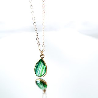 14KGF/ GREEN COPPER CRYSTAL NECKLACE