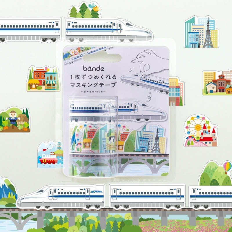 bande masking rolling sticker -- Trains and Rail (Shinkansen N700), 3 rolls set