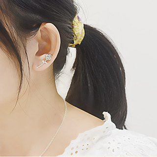 Small Fresh On Ear - Small Rose (Sterling Silver Earrings Silver) :: C% Handmade Jewelry ::