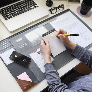 Seeso Office Stationery - Minimalist Leather Storage Desk Mat V2-Dark Grey, SSO32838