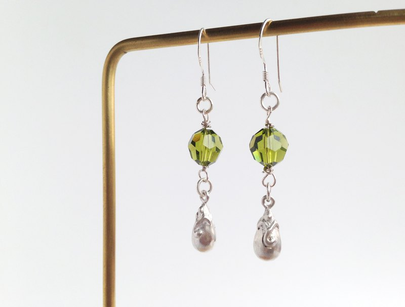 Handmade Olivine Swarovski Crystal Beads Silver Baroque Tear Drop Earrings Gift