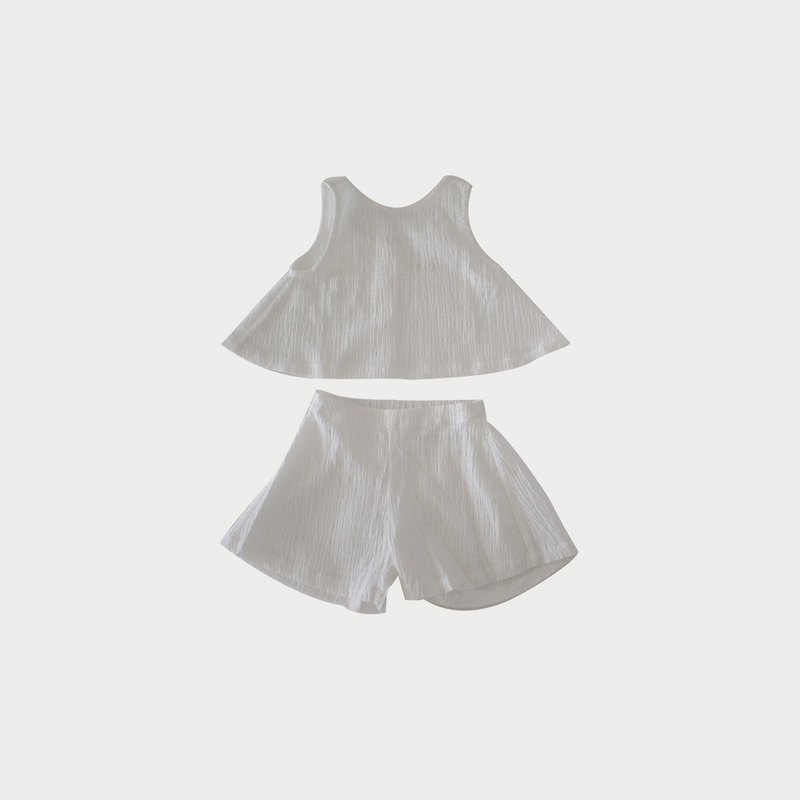 凹凸棉兩件式套裝 (白)